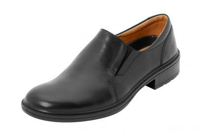 DB Shoes Keane Wide Fit Slip-on Black Leather Shoe