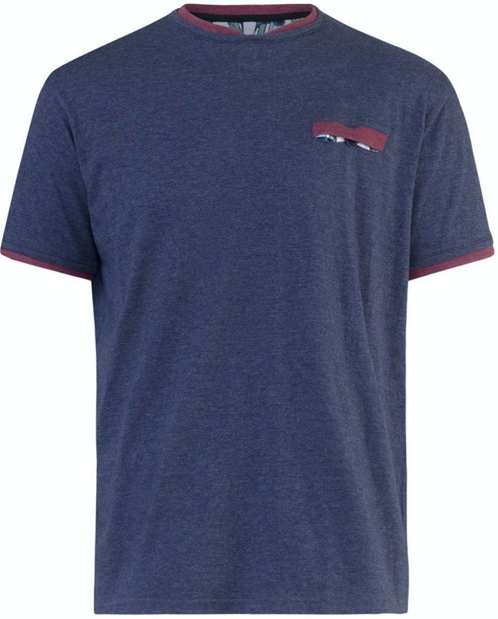 D555 Nelly Double Layer Neck & Pocket T-Shirt Denim