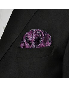 Silk Pocket Square Purple Geometric