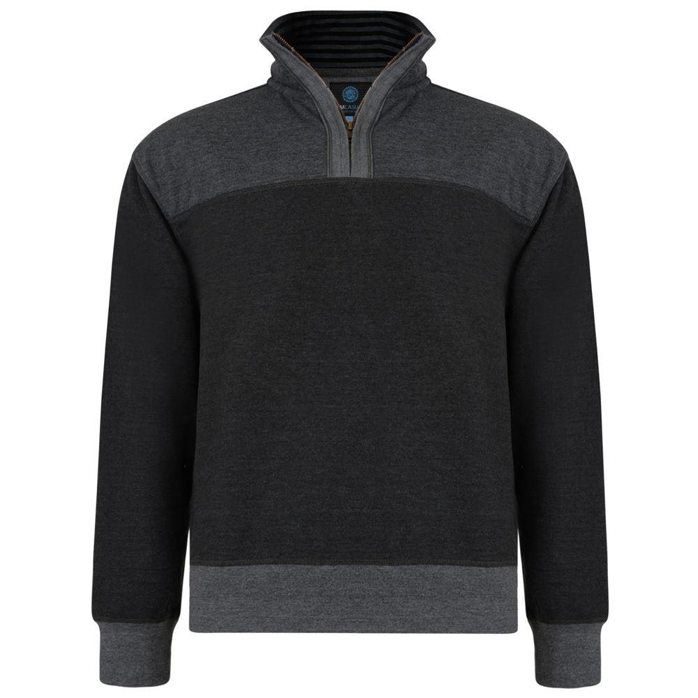 KAM Quarter Zip Canvas Sweater Charcoal
