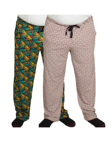 Bigdude Baggy Lounge Trousers Twin Pack Abstract/Card