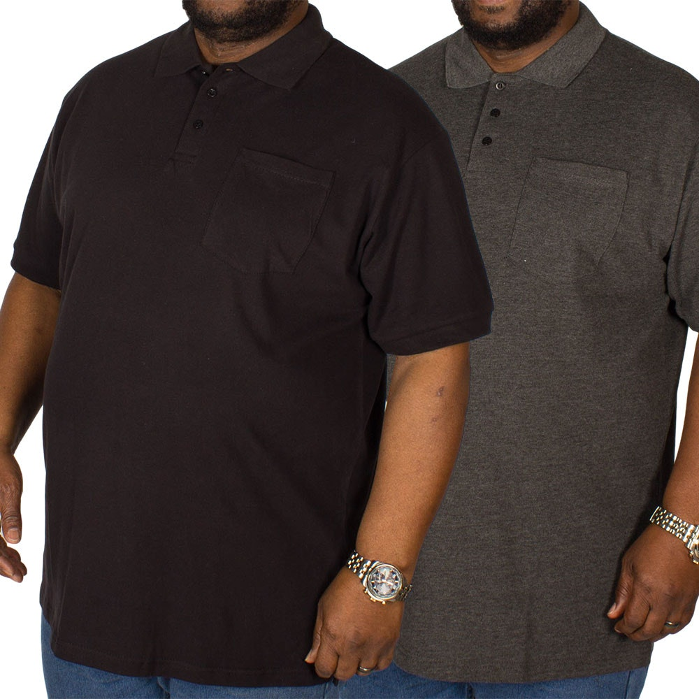 Bigdude Polo Shirt With Pocket Twin Pack Black/Charcoal