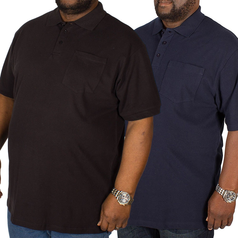 Bigdude Polo Shirt With Pocket Twin Pack Black/Navy