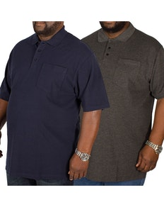 Bigdude Polo Shirt With Pocket Twin Pack Charcoal/Navy