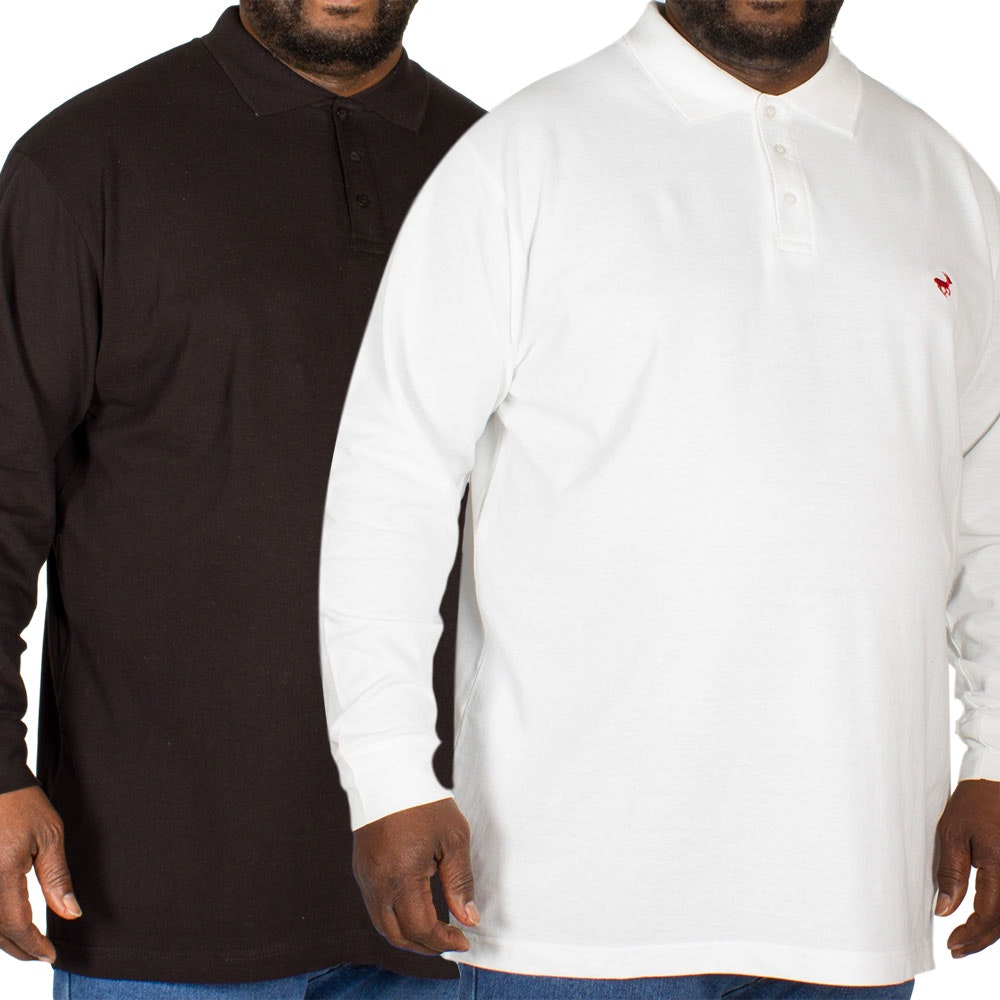 Bigdude Embroidered Long Sleeve Polo Shirt Twin Pack Black/White
