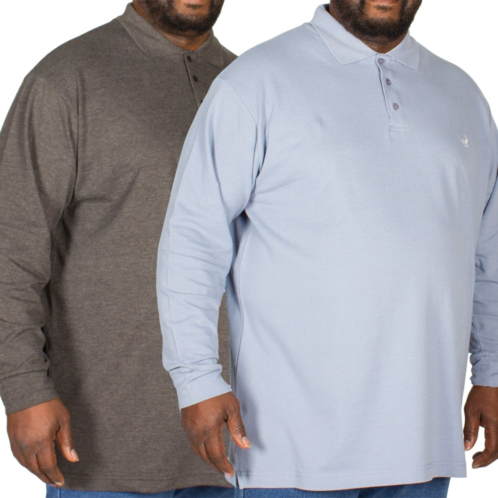 Bigdude Embroidered Long Sleeve Polo Shirt Twin Pack Charcoal/Denim