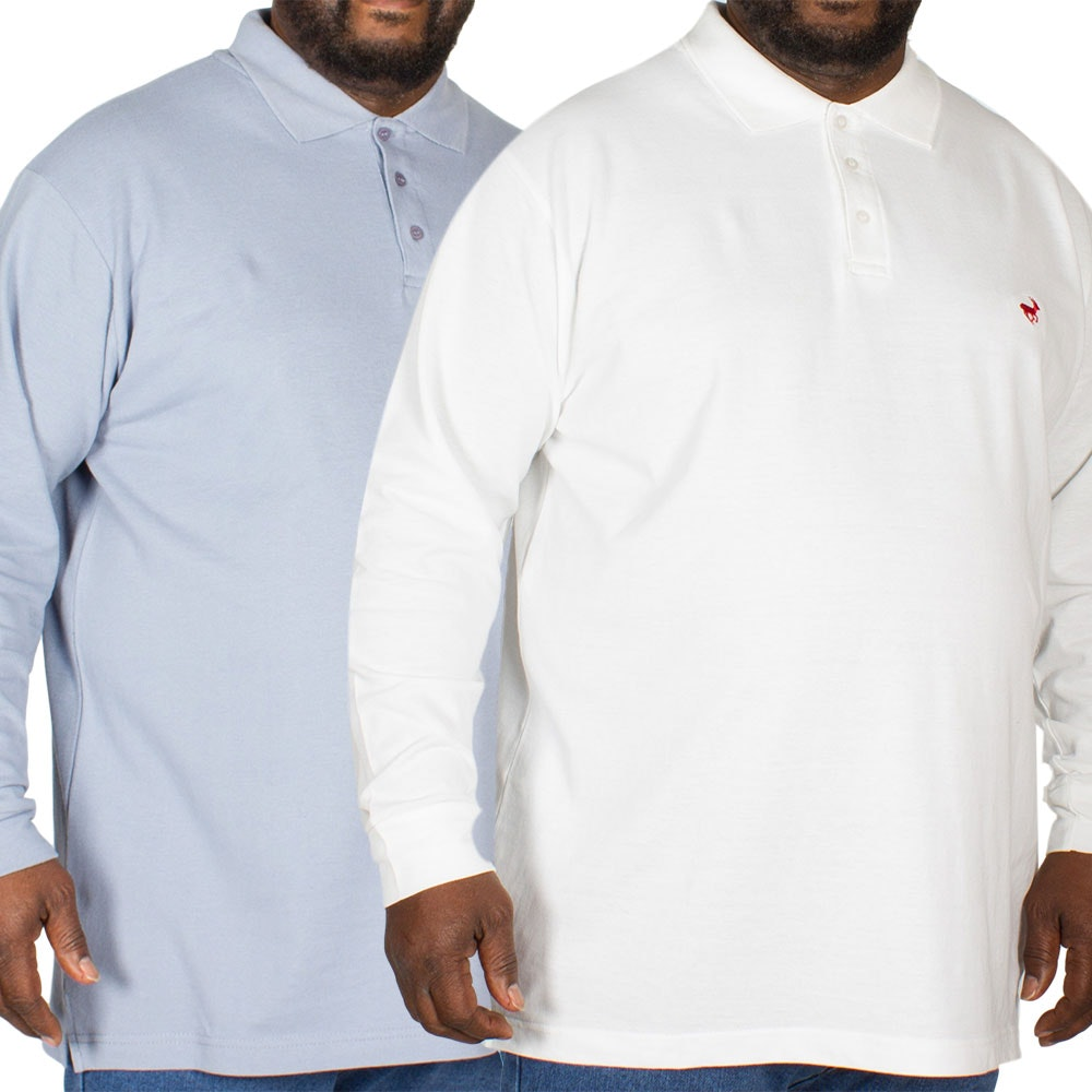 Bigdude Embroidered Long Sleeve Polo Shirt Twin Pack Denim/White