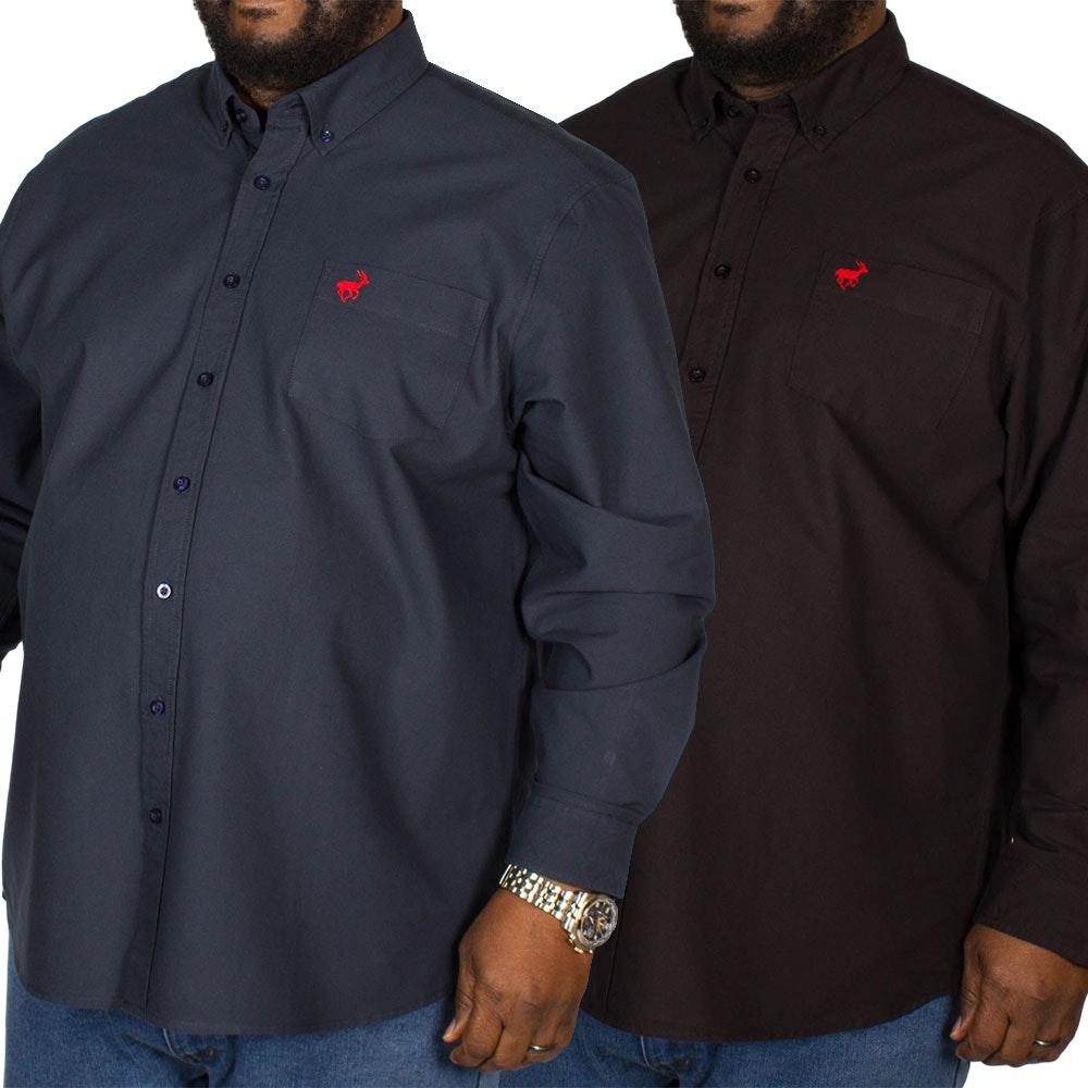 Bigdude Long Sleeve Oxford Shirt Twin Pack Black/Navy
