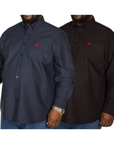 Bigdude Long Sleeve Oxford Shirt Twin Pack Black/Navy