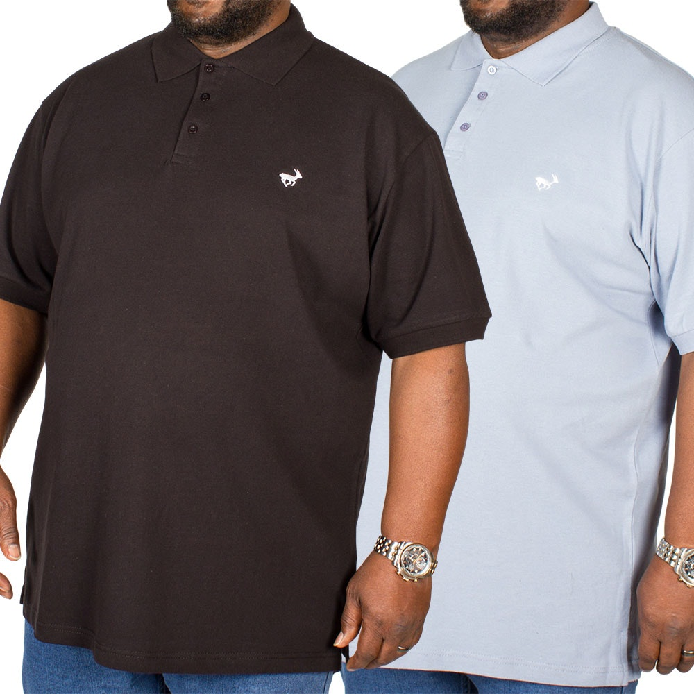Bigdude Embroidered Polo Shirt Twin Pack Black/Denim