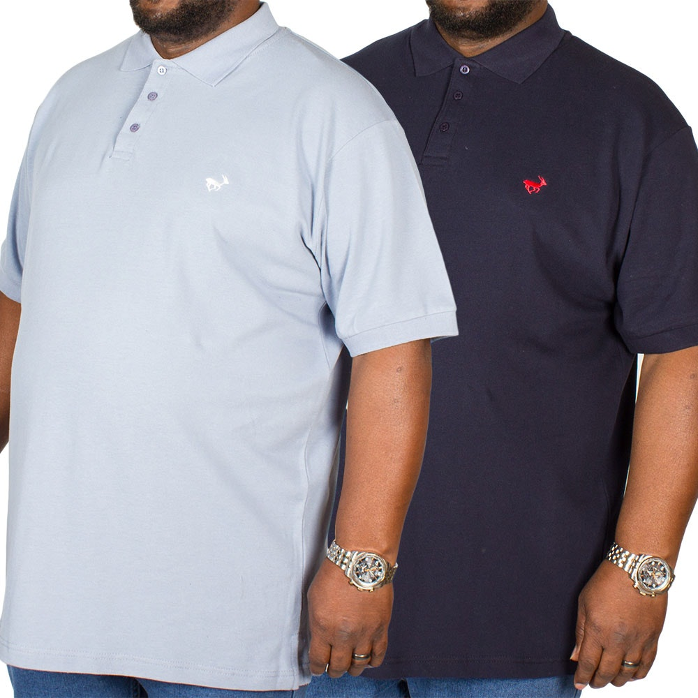 Bigdude Embroidered Polo Shirt Twin Pack Denim/Navy