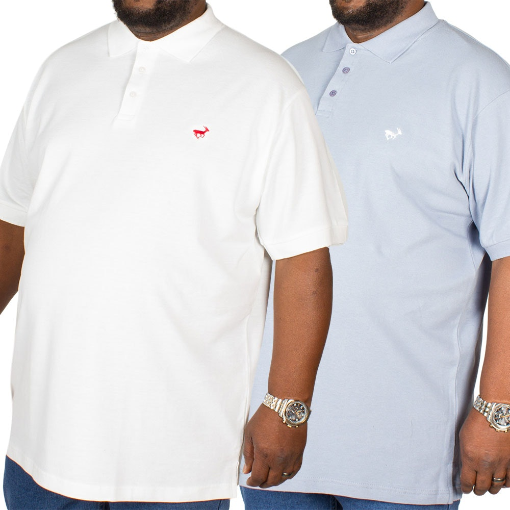 Bigdude Embroidered Polo Shirt Twin Pack Denim/White