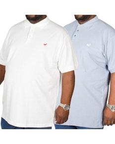 Bigdude Embroidered Polo Shirt Twin Pack Denim/White
