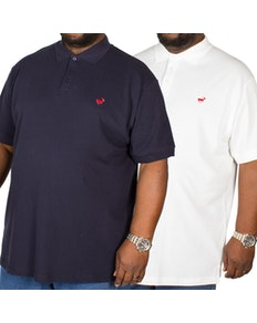 Bigdude Embroidered Polo Shirt Twin Pack Navy/White