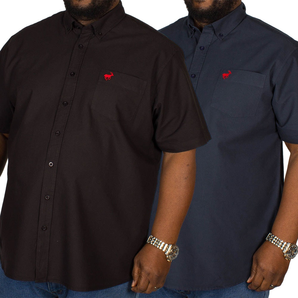 Bigdude Short Sleeve Oxford Shirt Twin Pack Black/Navy