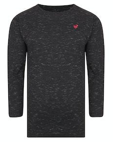 Bigdude Inkjet Marl Long Sleeve T-Shirt Black Tall