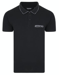 Bigdude Woven Pocket Polo Shirt Black Tall
