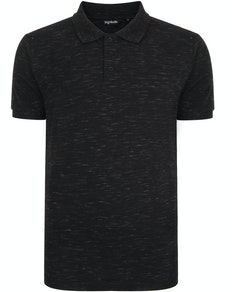 Bigdude Inkjet Marl Polo Shirt Black Tall