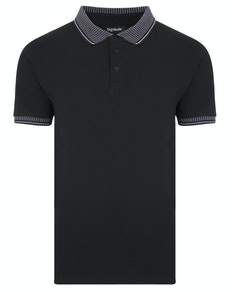 Bigdude Jacquard Collar Polo Shirt Black