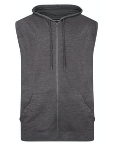 Bigdude Loop Back Sleeveless Hoody Charcoal