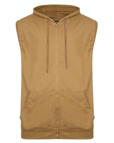 Bigdude Loop Back Sleeveless Hoody Khaki Tall