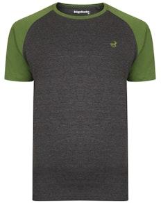 Bigdude Contrast Raglan Sleeve T-Shirt Charcoal/Green