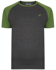 Bigdude Contrast Raglan Sleeve T-Shirt Charcoal/Green Tall