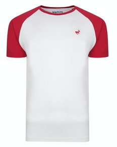Bigdude Contrast Raglan Sleeve T-Shirt White/Red Tall