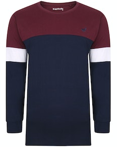 Bigdude Long Sleeve Block T-Shirt Burgundy/Navy Tall
