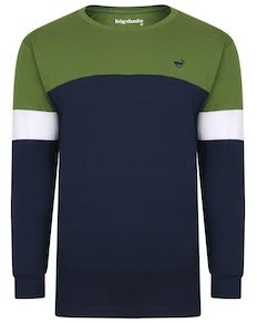 Bigdude Long Sleeve Block T-Shirt Green/Navy