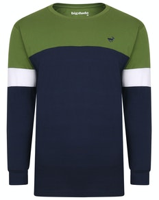 Bigdude Long Sleeve Block T-Shirt Green/Navy Tall