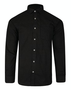 Bigdude Long Sleeve Dobby Print Shirt Black