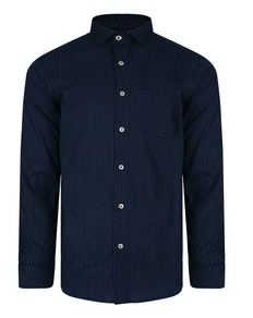 Bigdude Long Sleeve Dobby Print Shirt Navy Tall