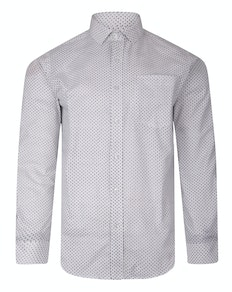 Bigdude Long Sleeve Dobby Print Shirt White Tall