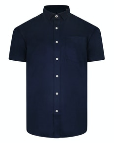 Bigdude Fine Twill Short Sleeve Shirt Navy Tall