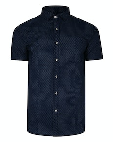 Bigdude Short Sleeve Dobby Print Shirt Navy
