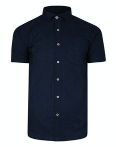 Bigdude Short Sleeve Dobby Print Shirt Navy Tall
