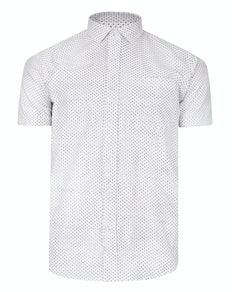 Bigdude Short Sleeve Dobby Print Shirt White Tall