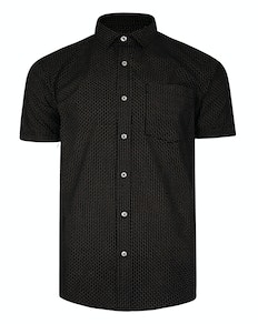Bigdude Short Sleeve Dobby Print Shirt Black Tall