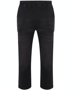 Bigdude Washed Elasticated Waist Stretch Jeans Black