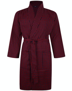 Bigdude Woven Check Dressing Gown Red/Navy