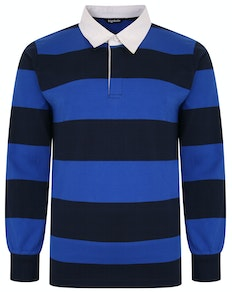 Bigdude Rugby Style Striped Long Sleeve Polo Shirt Navy/Royal Blue