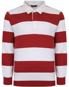 Bigdude Rugby Style Striped Long Sleeve Polo Shirt Red/White