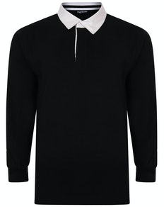 Bigdude Rugby Style Long Sleeve Polo Shirt Black