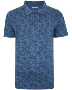 Bigdude All Over Paisley Print Polo Shirt Denim Marl