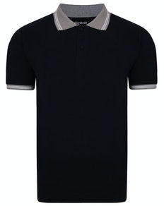 Bigdude Contrast Tipped Polo Shirt Navy Tall