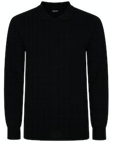 Bigdude Long Sleeve Polo Shirt Black Tall