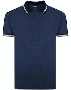 Bigdude Contrast Tipped Polo Shirt Denim Marl