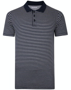 Bigdude Striped Polo Shirt Grey/Navy