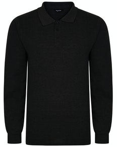 Bigdude Long Sleeve Polo Shirt Charcoal Marl